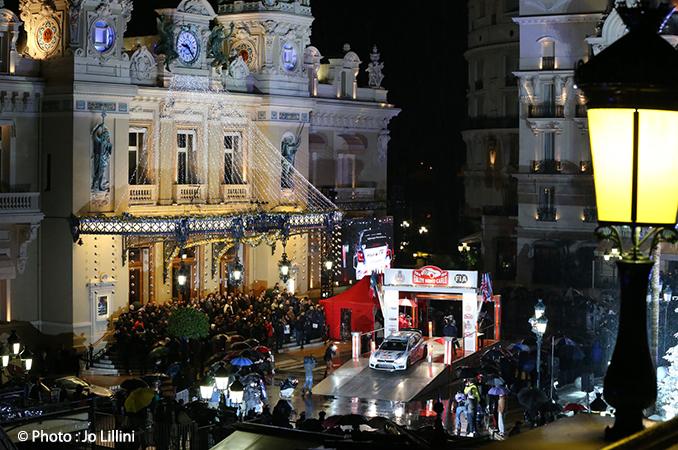Cérémonie officielle de départ du 82e Rallye Monte-Carlo, lundi soir, sur la prestigieuse place du Casino.