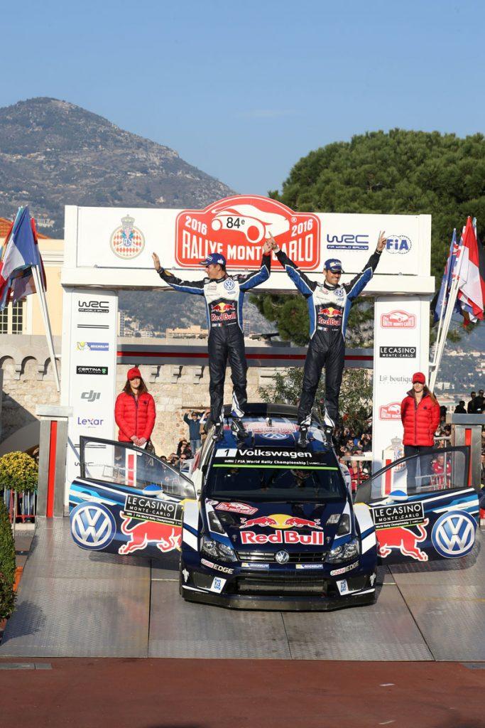ogier s ingrassia j (fra) VW polo R WRC n°1 2016 portrait podium RMC (JL) -60  © Jo Lillini