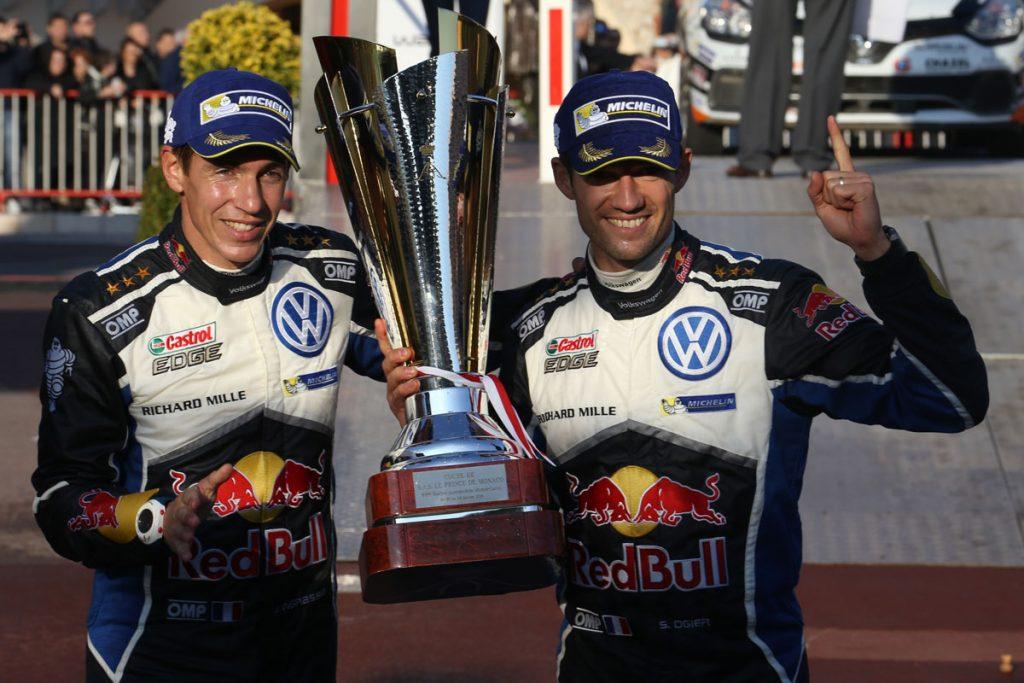 ogier s ingrassia j (fra) VW polo R WRC n°1 2016 portrait podium RMC (JL) -70  © Jo Lillini